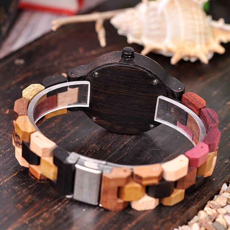 Image 5 - BOBO BIRD P14  Wood Watch Lover Couple Watches Men Women Quartz Week Date Timepiece Colorful Wooden Band logo Customize GitfsLovers Watches   -