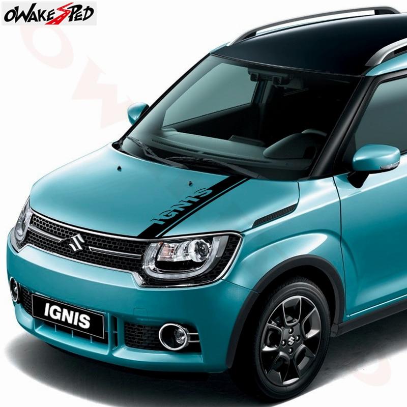 For Suzuki IGNIS Bonnet Stripes Sticker Car Hood Engine Cover Decor Stickers Sport Styling Auto Body Vinyl Decals