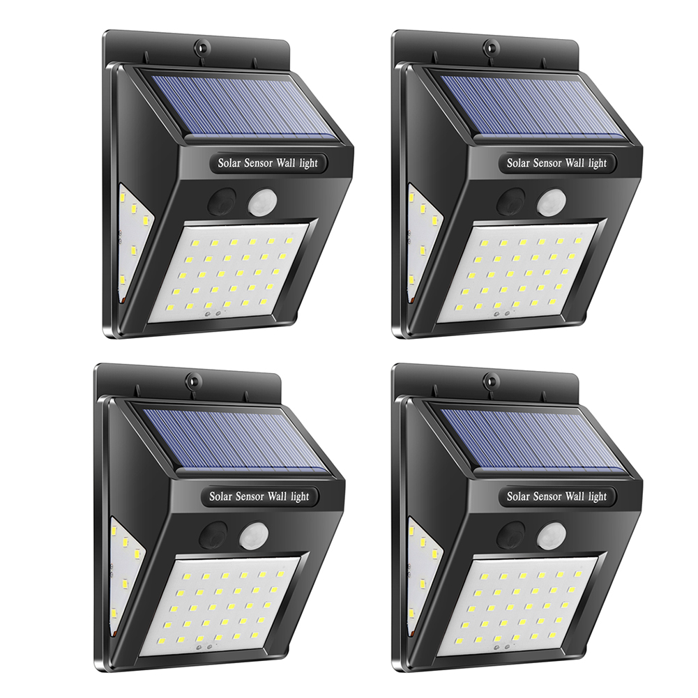 30/40 LED مصباح شمسي في الهواء الطلق PIR محس حركة 4 قطعة الشمسية الجدار مصباح مقاوم للماء توفير الطاقة الطوارئ حديقة ساحة أضواء