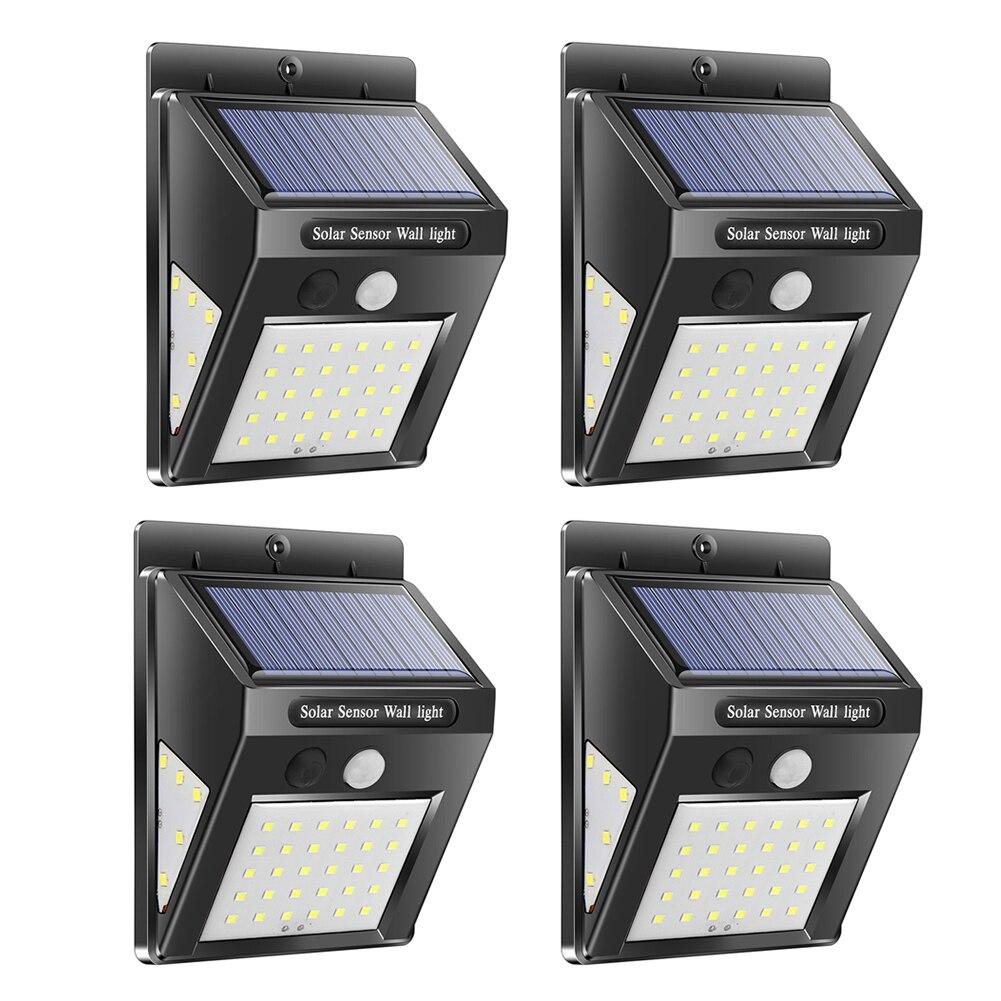 Lampe solaire extérieure, 30/40, capteur de mouvement PIR, 4 pièces, lampe murale solaire, économie d'énergie, lampes de jardin d'urgence