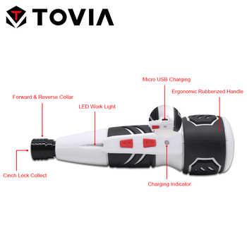 TOVIA Mini Electric Screwdriver 3.6v Lithium Battery Screwdriver Manual and Electric Home DIY Power Screwdriver 14pcs Set