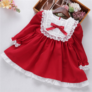 Image 2 - baby girl red dress long sleeve lace vintage retro kids dresses for girls clothes christmas princess children clothes autumn