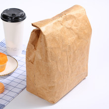 6L Lunch Bag Kraft Paper Bag Reusable Insulated Thermal Lunch Bag Snack Cooler Picnic Container Built-in aluminum film(China)
