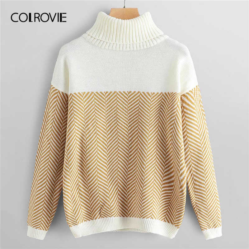 COLROVIE High Neck Drop Shoulder Sweater Women Casual Sweater 2019 Autumn Long Sleeve Sweater Ladies Pullovers