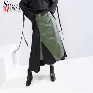Image 1 - חדש 2020 קוריאני סגנון חורף אישה מזדמן ארוך קפלים חצאית גבוהה מותן עור מפוצל ירוק שחור טלאים גבירותיי המפלגה חצאית 5695