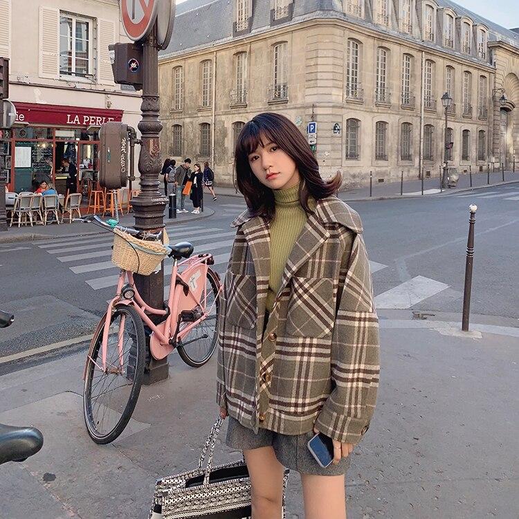 MISHOW 2019 Autumn Winter Gray Thick Woolen Coat Women Causal Lapel Striped Plaid Long Sleeve Coat Jackets  MX19C9538 15