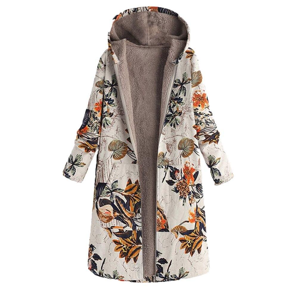 Womens Jackets Coat Toamen Vintage Long Sleeve Boho Floral Print Warm Flannel Lining Hooded Pockets Parka Outerwear Overcoat