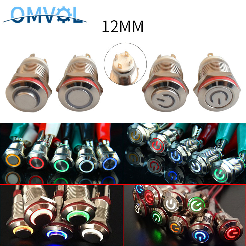 1PC 12mm  Momentary LED Metal Button Switch 3V 5V 6V12V 24V 220V  Self-Recovery Button Automatic Reset LED Waterproof Button