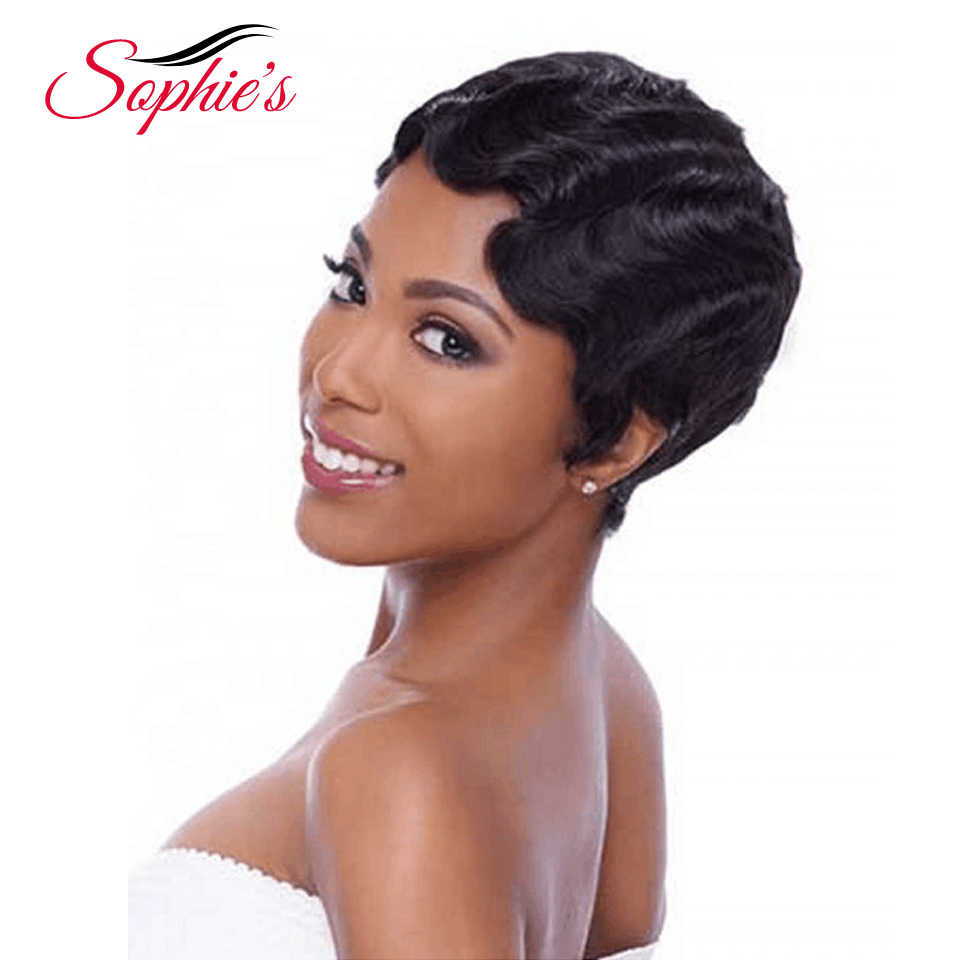 Sophie kısa Bob peruk siyah kadınlar için olmayan Remy düz İnsan saç peruk 4 inç 100% İnsan saç makine yapımı hiçbir koku H. NINA peruk