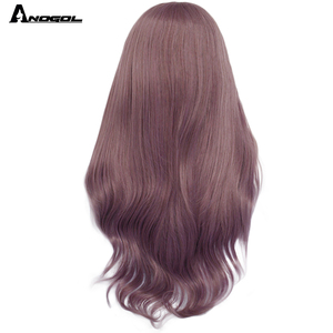 Image 4 - Anogol Purple Long Natural Wave High Temperature Fiber Hairline Hair Wigs Soft Swiss Synthetic Lace Front Wig for White Women