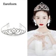 Earofcorn Rhinestone Hairband Tiara  Princess Prom Crown Party Accessiories Princess Prom Crown Headband rhinestone two heart princess tiara