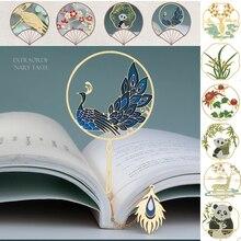 Metal Bookmark Panda Supply Stationery Pendant Gift Chinese-Style Retro Peacock 1pcs