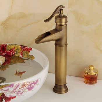 Basin Faucets Antique Brass Waterfall Bathroom vessel Sink Faucet Single Handle Hole Deck Wash Mixer Water Tap WC Taps rose gold plated style brass fauct water tap art short bathroom wash basin faucet mixer antique copper toilet sink basin faucet