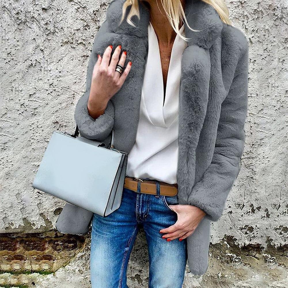 Women Faux Fur Coats Winter Solid Fashion Open Point Outwear Female Luxury Long Sleeve Warm Thick Fluffy Jacket Coat
