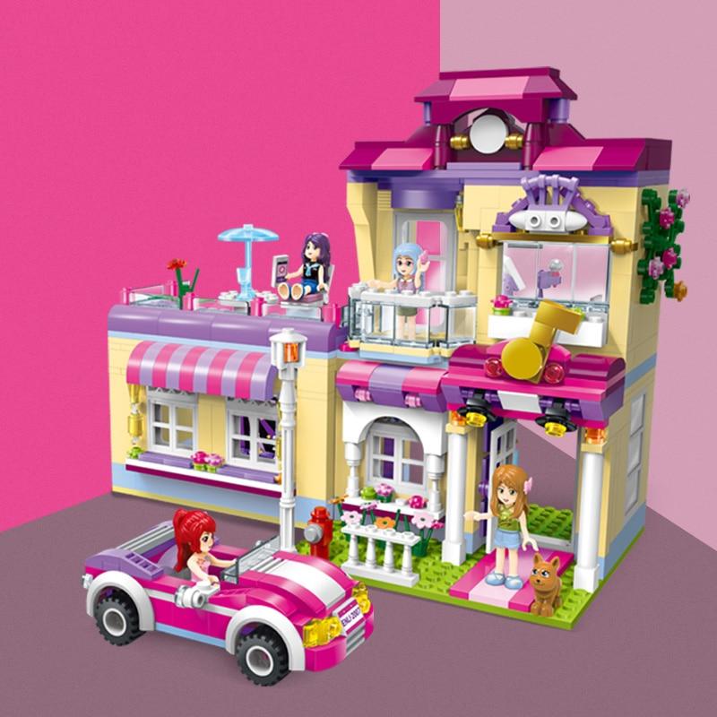QWZ Star House Model Playmobil Girls Legoes Brick Educational Building Blocks Toys For Children Christmas Gifts City Friends