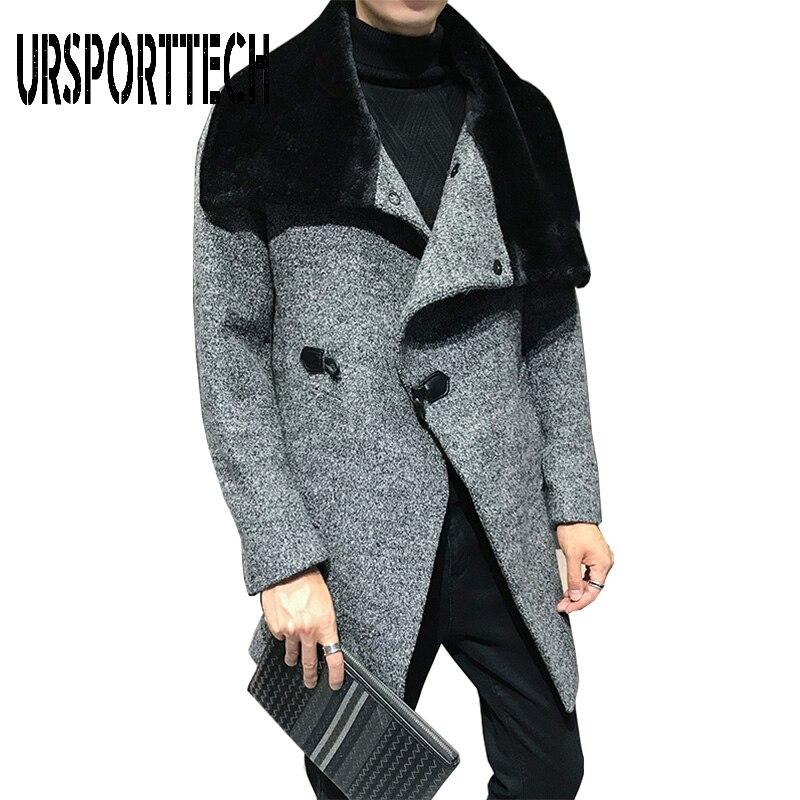 Men Solid Wool Blend Mid Long Jacket Winter Woolen Coat Men Fur Collar Warm Trench Coat Manteau Homme Overcoat Size M-3XL