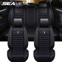 Fundas de cuero de lujo para asiento de coche, Protector Interior de sillas, 5 asientos, cojín Universal, se adapta a la mayoría de vehículos, sedán, SUV, producto para coche