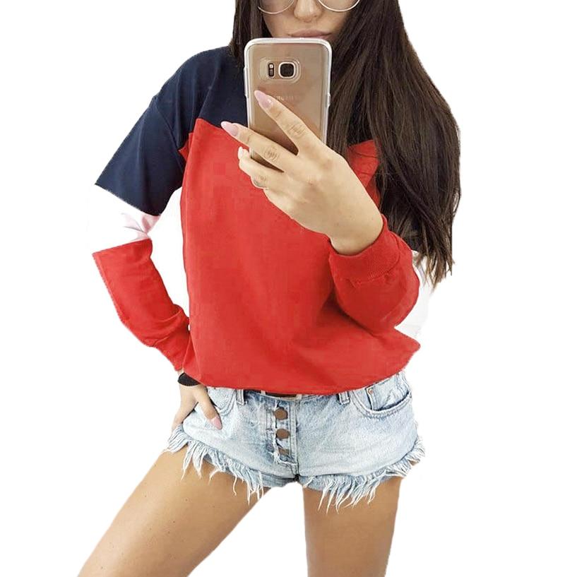 Новые модные топы, толстовки, женские толстовки с длинным рукавом, Цветные Лоскутные свитшоты с круглым вырезом, теплый пуловер, женские
