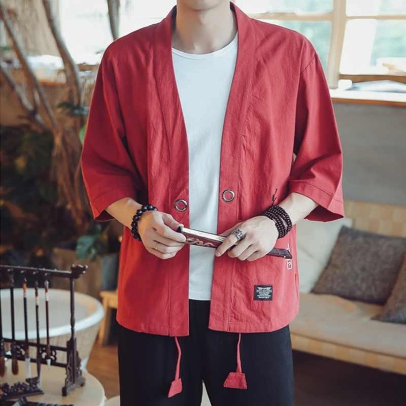 日本のドレス着物男性黒日本の着物男性サムライ衣装男性浴衣羽織日本ストリート服メンズコスプレ