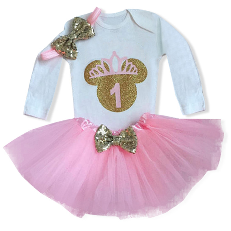 Todder Baby Girl First 1st Birthday Party Dress Minnie Mouse Tutu Cake Outfits Infant  Dresses Little Girls Long Sleeves Clothes