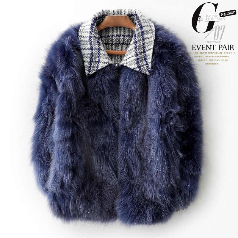 AYUSNUE Wolle Mantel Frauen Zwei Side Tragen Wolle Jacke Fuchs Pelz Mantel Frauen Mantel Koreanische Winter Mantel Frauen TLOOR0990 YY1393