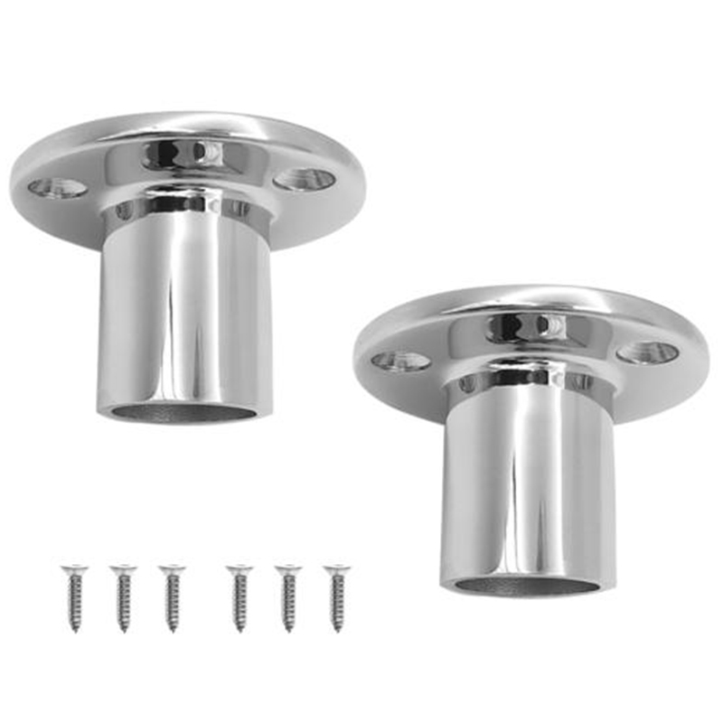 2Pcs 90 Degree Boat Handrail Round Base 1in 25Mm Marine 316 Stainless Steel Boat Hand Rail Fitting