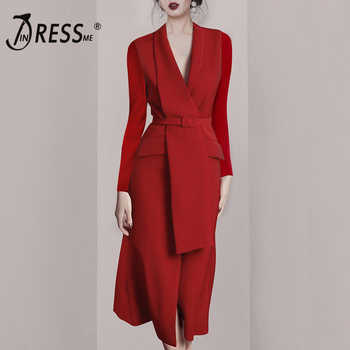 INDRESSME 2019 New Sexy Chic Elegant Blazer V Neck Long Sleeve Sashes With Buckle Red Office Lady Women Business Midi Dress - DISCOUNT ITEM  47% OFF All Category