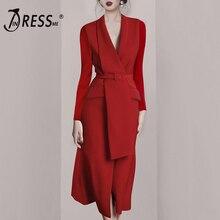 INDRESSME 2019 nueva Sexy Chic elegante chaqueta de manga larga con cuello en V de fajas con hebilla rojo dama de oficina de negocios de mujer vestido Midi