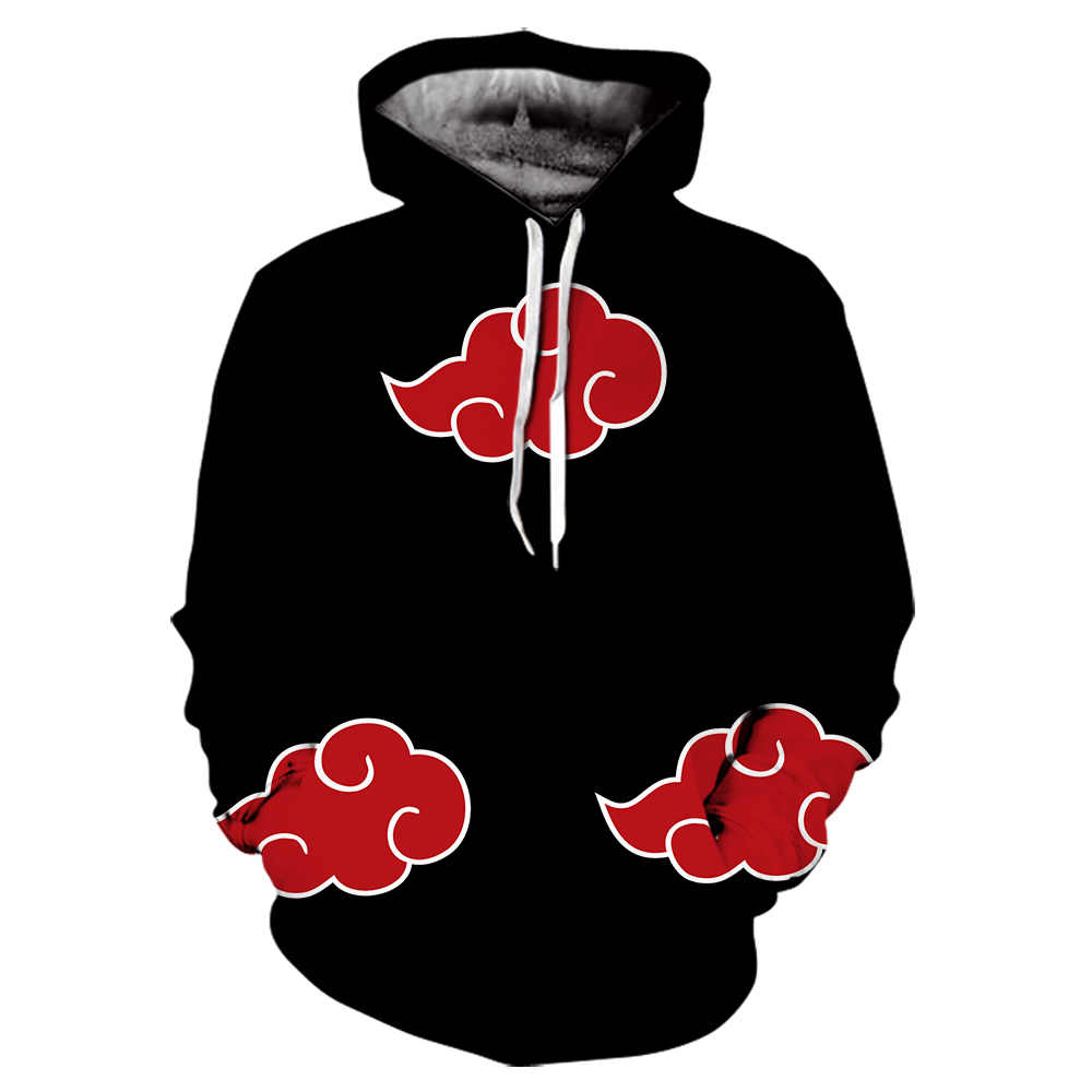 Japan Anime Naruto Akatsuki Red Cloud 3D Druck hoodie schwarz harajuku hoodies Lässige Coole Tops off white Sweatshirt