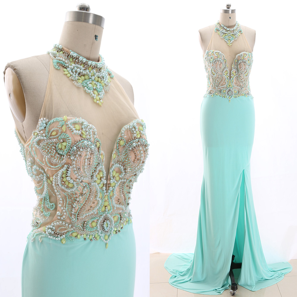 MACloth Mint Sheath High Neck Floor-Length Long Crystal Jersey Prom Dresses Dress M 266225 Clearance