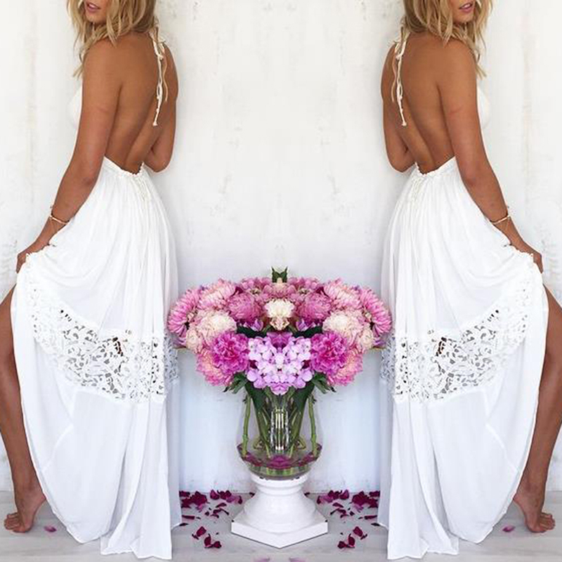<font><b>2019</b></font> Hot Sell <font><b>Women</b></font> <font><b>Sexy</b></font> Vestidos Party <font><b>Dresses</b></font> White Beach Summer Maxi Long Hollow Out Patchwork Sundress plus size image