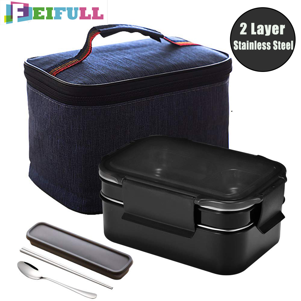 Lunch Box 2 Layer 304 Stainless Steel Thermo Bento Box Food Container Office Worker Lunchbox Kids Bento Box Heated Lunch Box