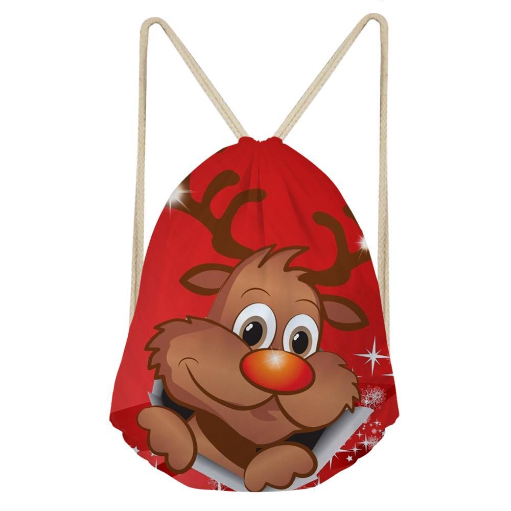 Christmas Drawstring Bags For Kids Boys Girls Shoulder Bagpack Ladies Reindeer 3D Printing Beach Backpack Draw String Bag Red