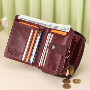 Image 3 - Carteira feminina de couro genuíno embreagem feminina pequenas senhoras carteiras portomonee rfid marca luxo dinheiro saco mágico zíper moeda bolsa
