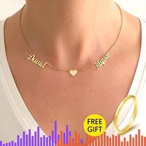 Image 1 - الخامس جذب الذهب مزدوجة أسماء القلب BFF قلادة مجوهرات مخصصة شخصية اسم قلادة للنساء الزفاف هدية BFF طوق Mujer