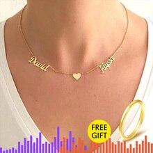V למשוך זהב כפול שמות לב BFF שרשרת תכשיטים מותאמים אישית אישית שם שרשרת לנשים חתונה מתנת BFF צווארון Mujer