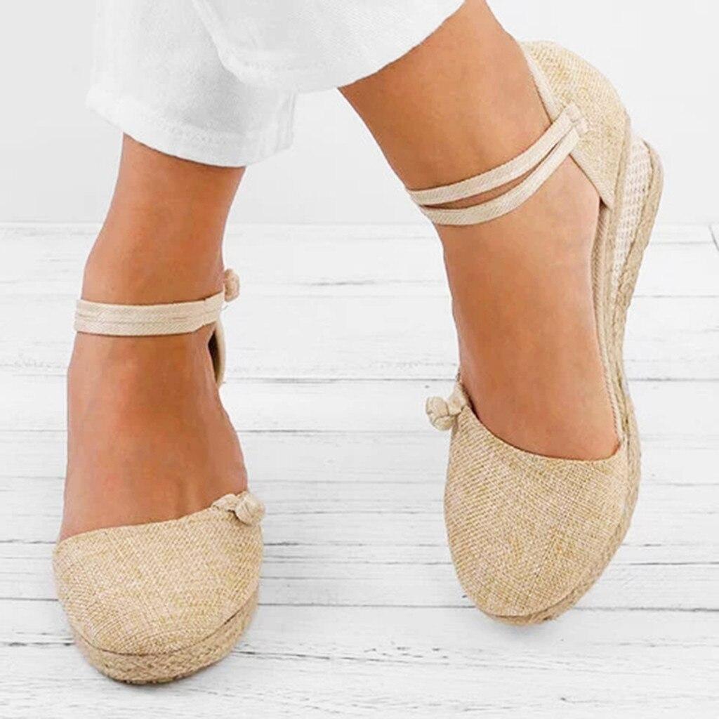 Women Ladies Straw Hemp Rope Sandals