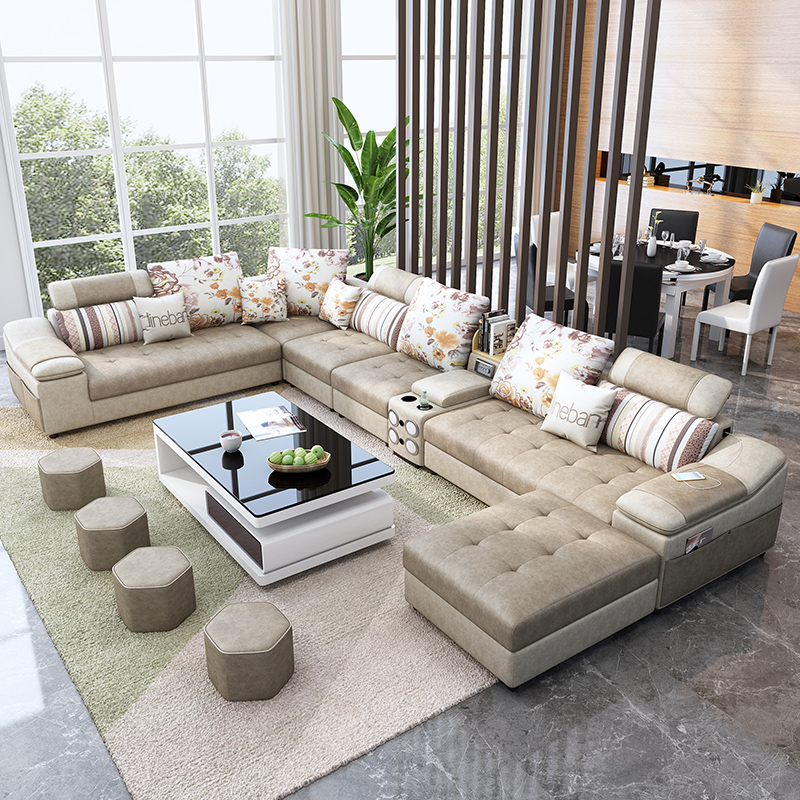 Living room furniture fabric technology leather sofa with coffee table speaker диван 4