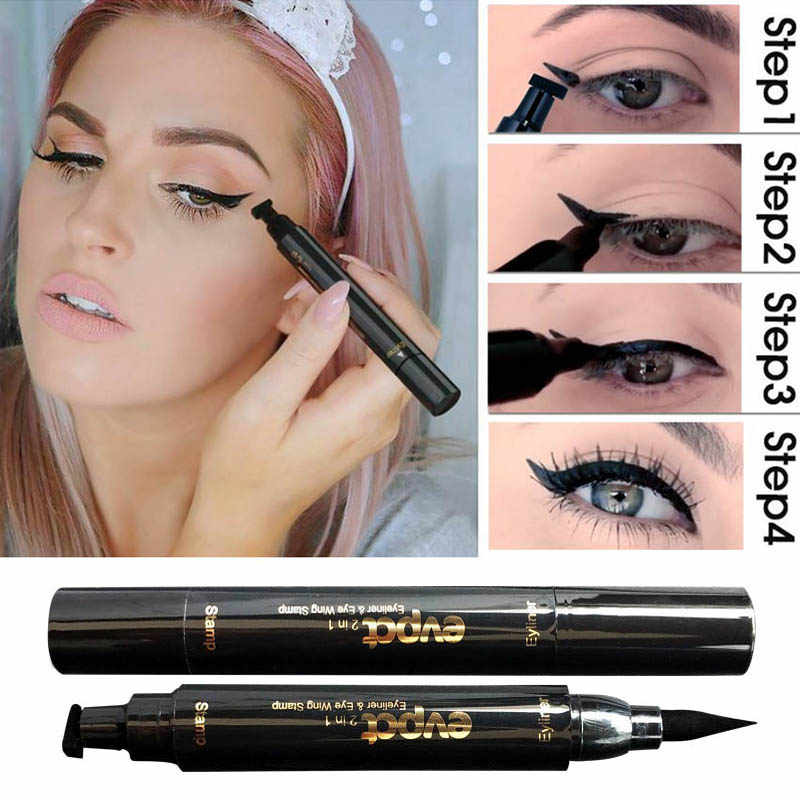 2 In1 Eyeliner Stempel Vloeibare Eyeliner Potlood Make-Up Postzegels Seal Pen Stempel Eyeliner Potlood Waterdicht Sneldrogende Eyeliner TSLM1