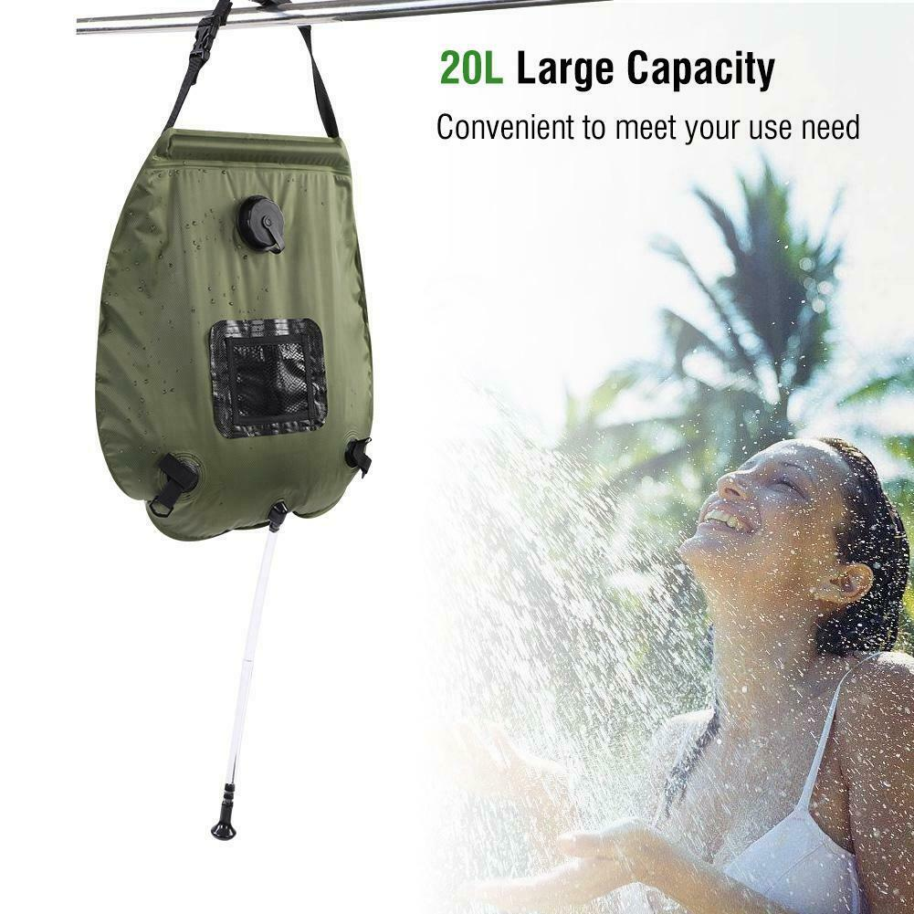 Portable Outdoor 20L Foldable Solar Energy Heated Water Bag Camp Washing Shower Outdoor RV Caravan Travel Camping Shower Bag