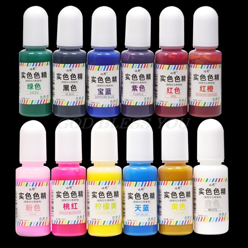 12 Pcs/set New Solid Color DIY Crystal AB Epoxy Dyeing Pigment Jewelry Making
