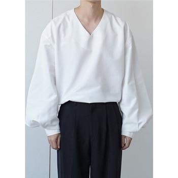 Korean V-neck Pullover Shirt Men's Fashion Dress Shirt Mens Business Casual White Shirt Men Streetwear Loose Long-sleeved Shirt brown v neck long sleeves loose plunge t shirt dress