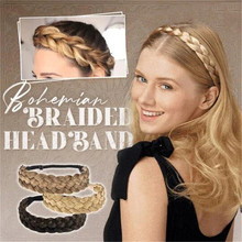 Classy Boho Braided Headband for Women Elastic Chunky Hair Braid Elastic Stretch Hairpiece Plaited Headbands Charm Gift