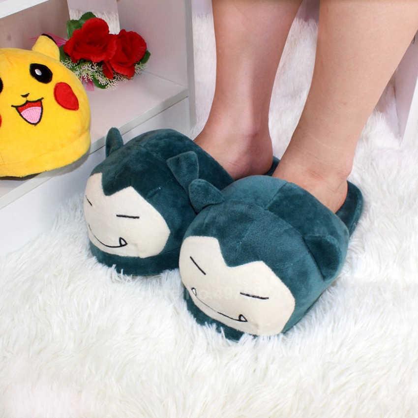 Mann Frauen Anime Cartoon Pokemon Pikachu Snorlax Charmander Squirtle Winter Hausschuhe Warm Halten Plüsch Slip auf Cosplay Schuhe