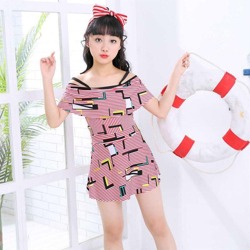 Children New Style Bathing Suit Girls Korean-style Dress-Big Boy Tour Bathing Suit South Korea GIRL'S Princess Students Swimwear