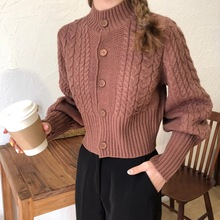Wool Women Sweater 2019 Fashion Loose Thermal Knitted Solid Blue Brown Button Cardigan Winter Lady Vintage Coat