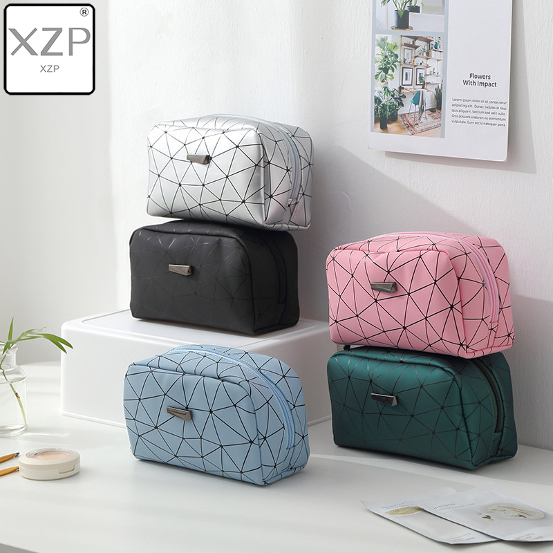 XZP New Women Travel Cosmetic Bag Multifunction Geometric Makeup Bags Waterproof Portable Toiletries Organizer Make Up Cases