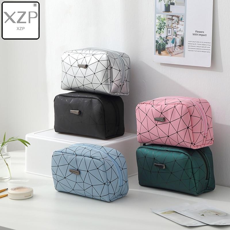 XZP New Women Travel Cosmetic Bag Multifunction Geometric Makeup Bags Waterproof Portable Toiletries Organizer Make Up Cases