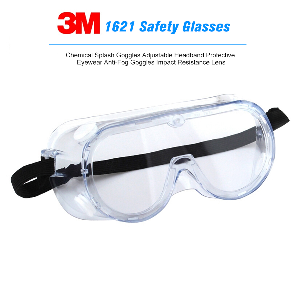 3M 1621 Safety Glasses Chemical Splash Goggles Anti-Fog Goggles Impact Resistance Lens Adjustable Headband Protective Eyewear