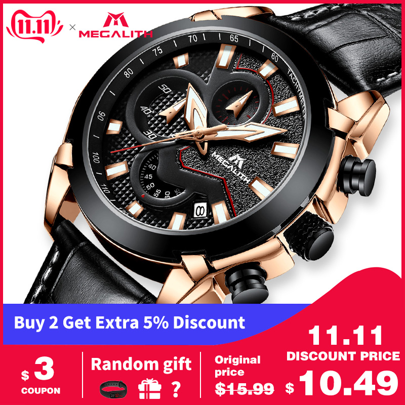 MEGALITH 15.99$ Watches Mens Sports Chronograph Wrist Watches 2019 Waterproof Date Quartz Watch For Men Clock Relogio Masculino